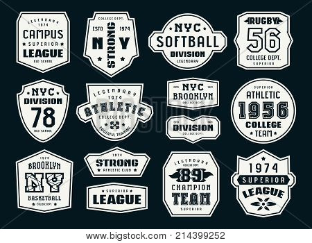 Set Of Emblems And Patches In Sport Style