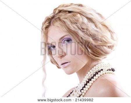 Portrait of a girl with a stylish haircut in the cold tones, Creative Makeup