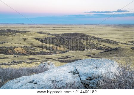 dusk over prairie in northern Colorado near Fort Collins - Soapstone Prairie Natural Area in late fall scenery