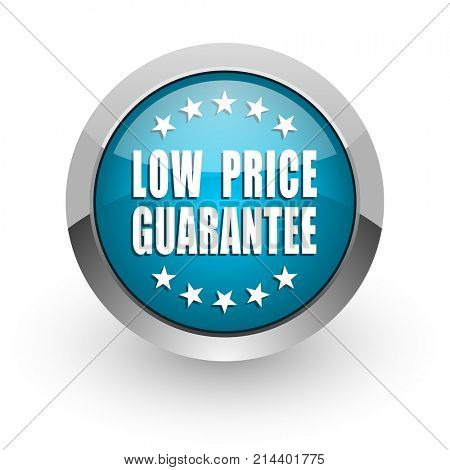 Low price guarantee blue silver metallic chrome border web and mobile phone icon on white background with shadow