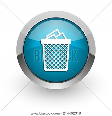 Trash can blue silver metallic chrome border web and mobile phone icon on white background with shadow