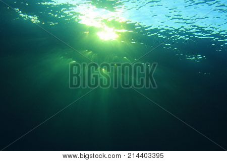 Underwater ocean background and sunlight