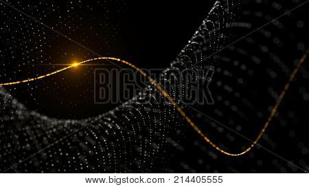 Elegant dynamic dots field and light. Black abstract technology, science and engineering stylish background. Depth of field settings. 3D rendering.