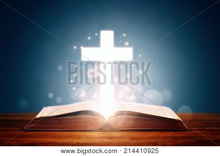 Holy bible with cross background concept for prayer and religion