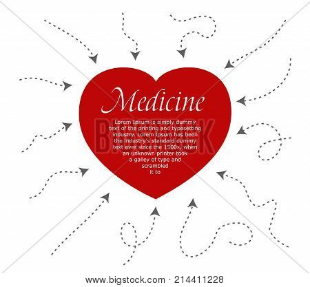 Red heart blank place for text, arrows around the heart. infographic Arrows. vector illustration Dynamic arrow symbol isolated.