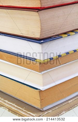 Books illustrate education study concept. Book texture pattern wallpaper. Photo of books. Cover.