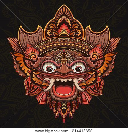 Traditional ritual Balinese mask. Vector outline illustration for coloring book isolated.
