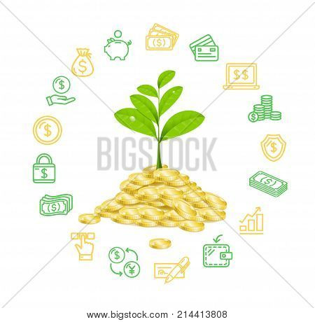 Money Finance Concept with Realistic 3d Detailed Growth Green Plant Symbol of Profit and Outline Icons. Vector illustration