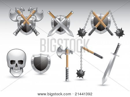 Axes, shields, maces, swords, and skull on isolated background