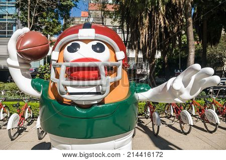 REFORMA AVENUE MEXICO CITY - NOVEMBER 13 2017. On the occasion of the match between Patriots and Raiders at the Aztec Stadium the NFL organized the Ball Parade with 42 large-format pieces.