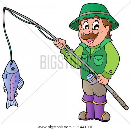 Cartoon fisherman with rod and fish - vector illustration.