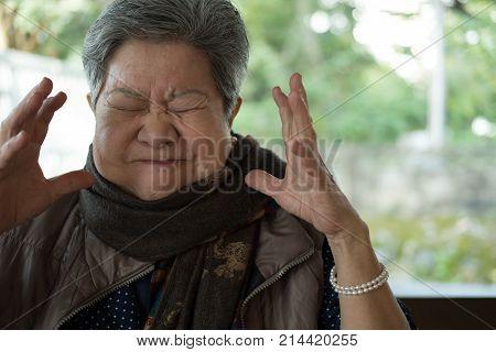 Portrait Of Furious Elder Woman, Enraged Elderly Female, Angry Senior