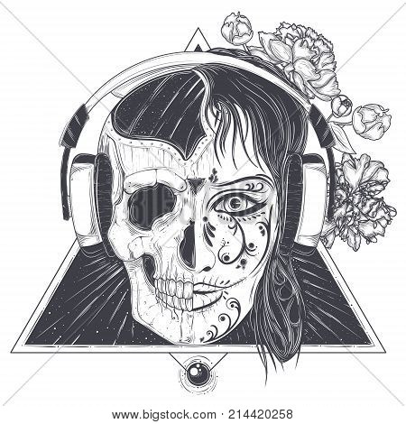 Woman in headphones with half face skull vector illustration isolated on white background. Mystic and scary female portrait with geometric ornaments for music poster, tattoo or print day of the dead