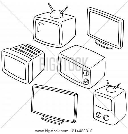vector set of television hand drawn cartoon