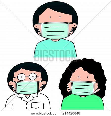 vector set of medical protective mask hand drawn cartoon