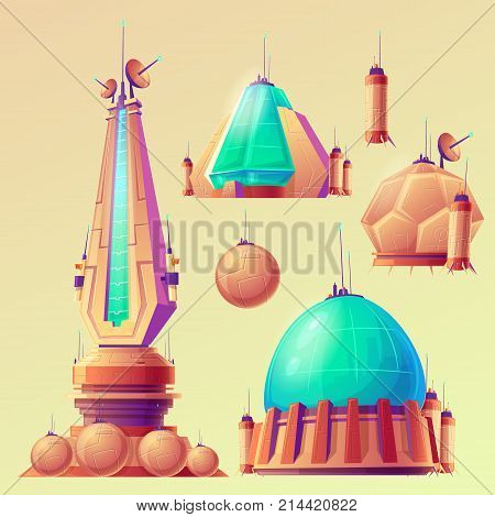 Set of unidentified space objects, UFO, space ships of extraterrestrial alien invaders, vector cartoon illustrations. Elements for game design.