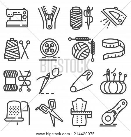 Simple set of sewing related vector line icons. Sewing Machine Measuring Tape Wool