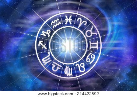 Zodiac signs inside of horoscope circle - astrology and horoscopes concept poster