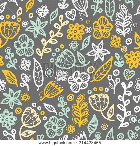 Floral seamless floral pattern in doodle style. Gentle, spring, summer floral background.