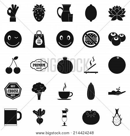 Vegetarian cafe icons set. Simple set of 25 vegetarian cafe vector icons for web isolated on white background