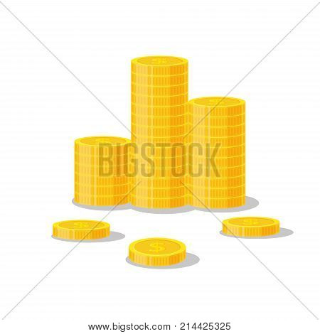 Coins stack vector illustration, icon flat finance heap, dollar coin pile. Golden money standing on stacked, gold piece isolated on white background - flat style.