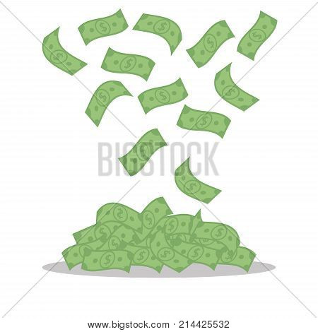 Money banknotes isolated on white background. Falling green dollars , bills fly - flat vector illustration.
