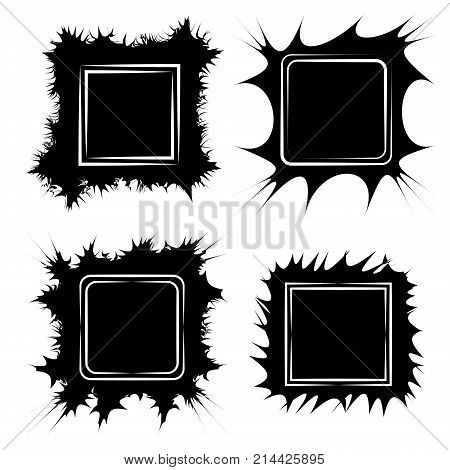 Set the frame for paintings gallery or photos, vector frame form cracks scribble Doodle, pop art style Speech Bubble boom