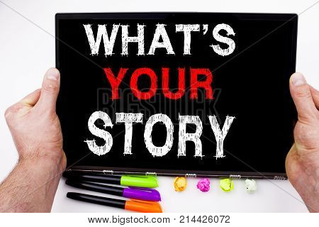 Question What Is Your Story Text Written On Tablet, Computer In The Office With Marker, Pen, Station