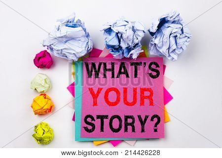 Writing Text Showing Question What Is Your Story Written On Sticky Note In Office With Screw Paper B