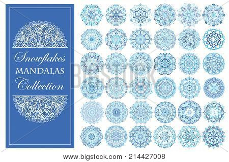 Intricate snowflake mandalas for elaborate Christmas decorative work. Floral design elements, round ornaments. Anti-stress therapy patterns. Weave vector. Unusual oriental flower shape.