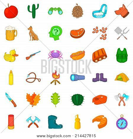 Hunter icons set. Cartoon style of 36 hunter vector icons for web isolated on white background