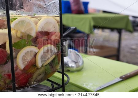 Lemon, Strawberry & Mint Juice. Lemonade Mocktail Or Fruit Water. Refreshing Summer Drink.