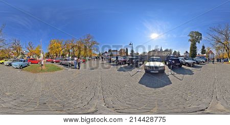 TARGU MURES, ROMANIA - OCTOBER 21, 2017: 360 panorama of a classic car show on a clear sunny day in autumn on Bulevardul Cetatii.