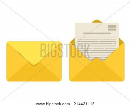 Opened and closed envelope with note paper card isolated on white background. Mail icon. Emailing and communication. Template design for social network, web or mobile app. Vector illustration