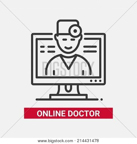 Online doctor - line design single isolated icon on white background with description. High quality black pictogram, emblem. Image of a nice physician on a computer screen. Digital medicine theme