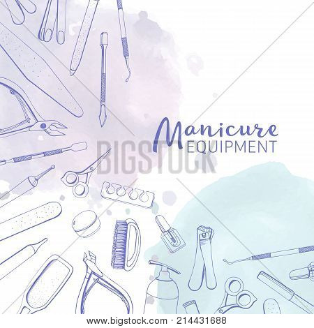 Square banner with different manicure tools drawn with contour lines and pastel colored watercolor paint blots. Background with equipment for nail art at top and bottom edges. Vector illustration