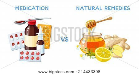 Medication vs natural remedies. Drugs pills and medicinal syrup. Honey ginger and lemon. Vector cartoon illustration isolated on white.