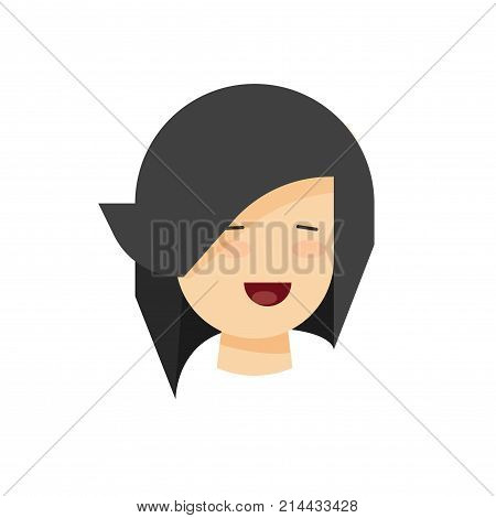 Happy woman or girl face with smile vector illustration, flat cartoon design of young female person smiling, cheerful emotion, head isolated on white backround