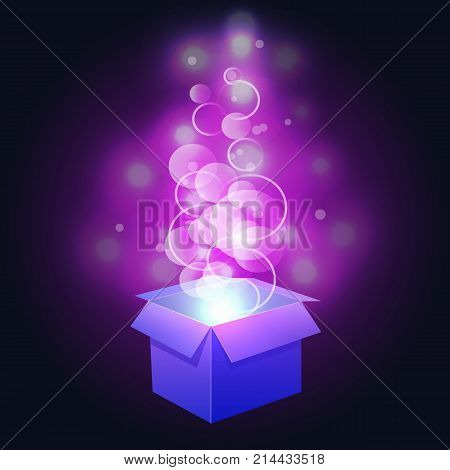 VECTOR. Glowing magic box. Purple and blue colors abstract lights.
