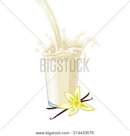 Colorful milkshake design. White milky flow and splash in full glass of vanilla milk shake. Vector illustration cartoon flat icon isolated on white.