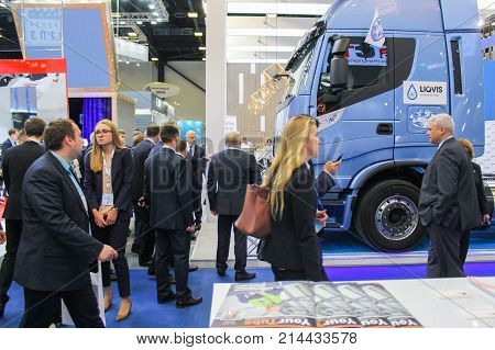 St. Petersburg, Russia - 3 October, Business people at the gas forum, 3 October, 2017. Participants and visitors of the annual St. Petersburg Gas Forum.