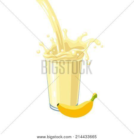 Colorful fruit milkshake design. Yellow milky flow and splash in full glass of banana milk shake. Vector illustration cartoon flat icon isolated on white.