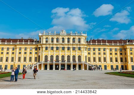 Vienna, Austria, October 14, 2016: Schonbrunn Palace In Vienna. Baroque Palace Is Former Imperial Su