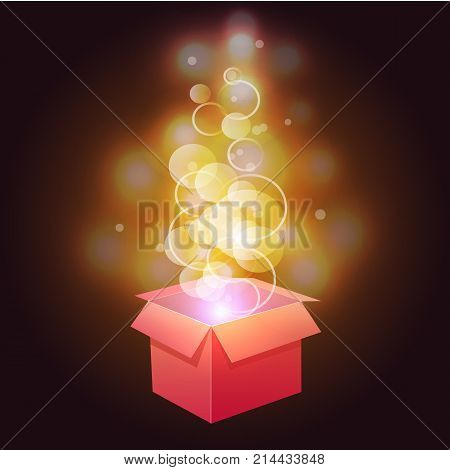 VECTOR. Glowing magic box. Yellow and red colors abstract lights.