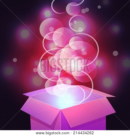 VECTOR. Glowing magic box. Close up. Magenta colored background