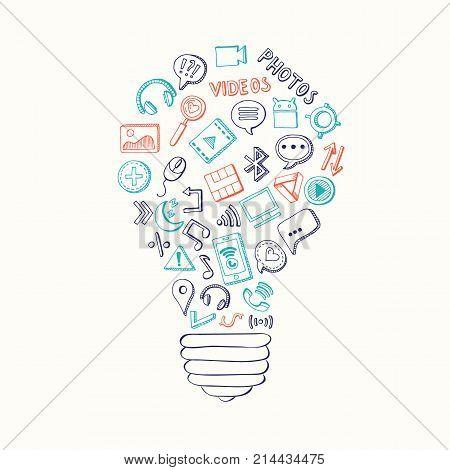 Vector light bulb formed of social media hand drawn elements. Social media doodle elements in form light bulb illustration