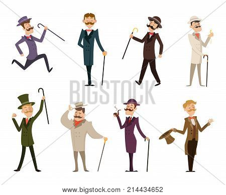 Set of english victorian gentlemen. Characters in dynamic poses. Collection of gentlemen in suit clothing, gentleman english gallant aristocrat. Vector illustration
