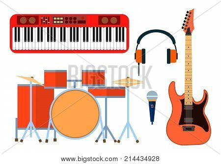 Musical instruments icons for musical group. Guitar synthesizer, drum, microphone, headphones for band. Flat design, vector illustration, EPS10