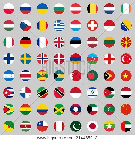 Flags of the countries of the world a large set of flags of different countries. Flat design vector illustration vector.