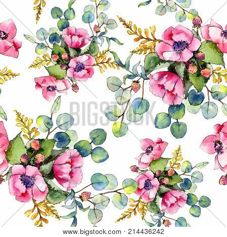 Wildflower bouquet pattern in a watercolor style. Full name of the plant: poppy. Aquarelle wild flower for background, texture, wrapper pattern, frame or border.